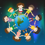 Kids around the globe. Illustration of the kids around the globe Royalty Free Stock Photography