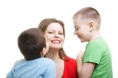 Kids around mommy. Photo against white background Stock Image