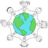 Kids around planet Royalty Free Stock Photos