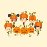 Kids Around Playing with Pumpkins Royalty Free Stock Photography
