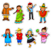 Kids from around the world. Kids in different traditional costumes Royalty Free Stock Image