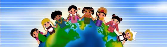 Kids around the world. Children around the world wearing traditional costume isolated illustration Stock Image