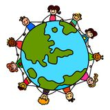 Kids around the world. Unity children around the world.Global kids.Earth day set Royalty Free Stock Photography