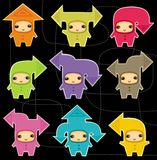 Kids arrows set. Vector Set of the Little cute communication gnomes-arrows Royalty Free Stock Photos