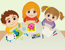 Kids in art class Stock Images