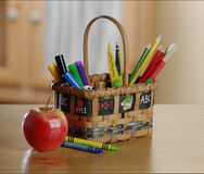 Kids art and craft basket Royalty Free Stock Photos