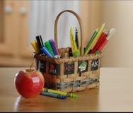 Kids art and craft basket royalty free stock photos
