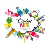 Kids art craft, education, creativity class. Vector banner, poster with white cloud shape paper background.