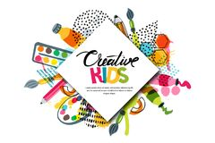 Kids art craft, education, creativity class. Vector banner, poster with white square paper background and lettering. Kids art craft, education, creativity class stock illustration