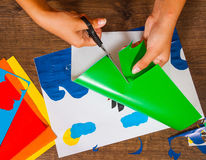 Free Kids Art. Crafts Concept. Handmade. On Wooden Table Top View. Royalty Free Stock Photography - 98720417