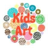 KIds Art hobby club design. With cute children patterns or kids sketch dots. Vector illustration royalty free illustration
