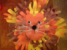Kids Art Lion with hands Royalty Free Stock Photos