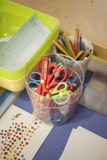 Kids art studio at school. With coloring pencils and scissors Royalty Free Stock Image