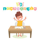 Kids Art-working process. Kids creativity  illustration. Boy keeps brush and pencil in hands. Royalty Free Stock Image