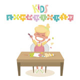 Kids Art-working process. Kids creativity  illustration. Girl keeps scissors in hands. Royalty Free Stock Photo