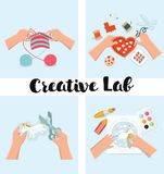 Kids Art-working process. Kids creativity vector illustration. Top view with creative kids hands. Stock Photo