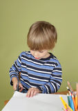 Kids Arts and Crafts Activity Child Learning to Cut with Scissor Stock Images