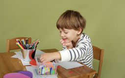 Kids Arts and Crafts Activity, Learning and Education Stock Photos