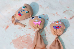 Kids artwork faces of seeds will grow grass hair Royalty Free Stock Photo