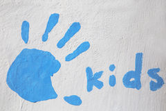 Kids artwork painted on a wall outside Royalty Free Stock Image