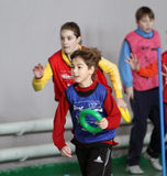 Kids Athletics competition. Children on the IAAF (International Association of Athletics Federations) Kids Athletics competition on February 10, 2012 in Donetsk Stock Image