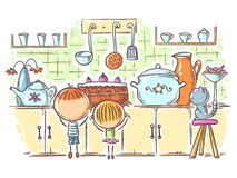 Kids are attracted by the cake in the kitchen, cartoon drawing royalty free stock photography