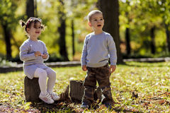 Kids at the autumn forest Royalty Free Stock Photos