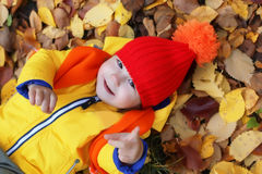 Kids in autumn laying in leaves Stock Photos