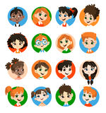 Kids avatar collection. Pupils boys and girls. Vector illustrations Isolated on white background vector illustration
