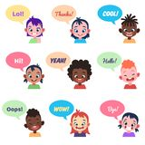 Kids avatars. International people with speech bubbles different chat words children communication talking bubbles stock illustration