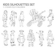 Kids and babies silhouettes, sketch Royalty Free Stock Images