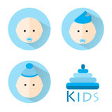 Kids baby flat icon set . Children vector set Stock Image