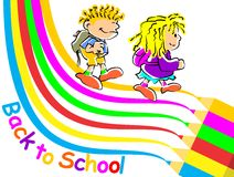 Kids back to school. Conceptual image promoting the return to classes of school to start the season. Boy and girl walking to school Royalty Free Illustration