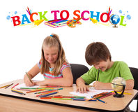 Kids with back to school theme isolated on white Stock Photo