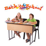 Kids with back to school theme isolated on white. Kids in bench with back to school theme isolated on white Stock Photography