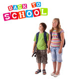 Kids with back to school theme isolated on white Stock Images