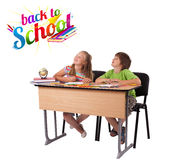 Kids with back to school theme isolated on white. Kids in bench with back to school theme isolated on white Royalty Free Stock Images