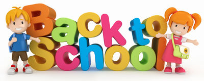 Kids and Back to School word Stock Photography