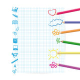 Kids background. Colorful kids background drwing on sheet of paper Stock Photo