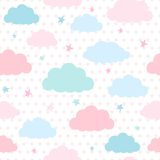 Kids background with clouds and stars Royalty Free Stock Image
