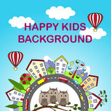 Kids background with happy city and cute owls in front Royalty Free Stock Photography