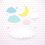 Kids background with moon, clouds and stars Royalty Free Stock Photos