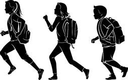 Kids with Backpack Rushing to School Royalty Free Stock Photos