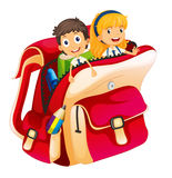 Kids in a bag Stock Image