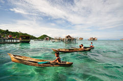Kids of Bajau Laut or Sea gypsies in Sabah Borneo Malaysia Stock Photography