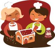Kids baking Gingerbread house stock illustration