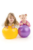 Kids with ball. On white background stock photos