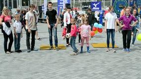 Kids with ball in Kiev, Ukraine, stock video footage