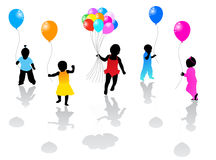 Kids and ballons. Illustration of kids and balloons Stock Photos