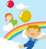 Kids with balloon. Illustration art Royalty Free Stock Image